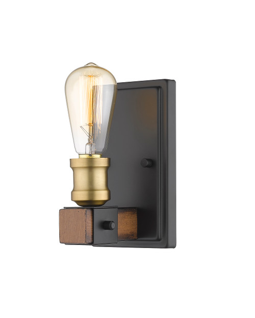 Z-Lite Kirkland Collection 1 Light Wall Sconce in Rustic Mahogany Finish, 472-1S-RM