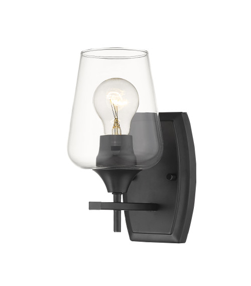 Z-Lite Joliet Collection 1 Light Wall Sconce in Matte Black Finish, 473-1S-MB