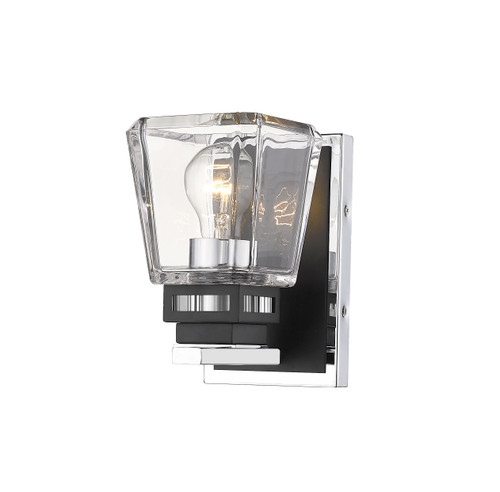 Z-Lite Jackson Collection 1 Light Wall Sconce in Chrome + Matte Black Finish, 474-1S-CH-MB
