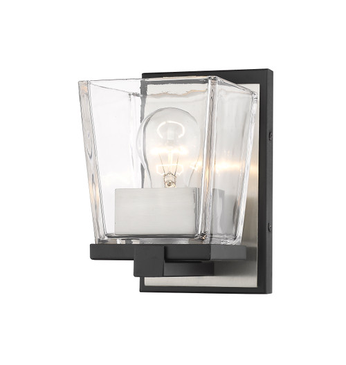 Z-Lite Bleeker Street Collection 1 Light Wall Sconce in Matte Black + Brushed Nickel Finish, 475-1S-MB-BN