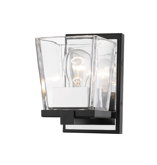 Z-Lite Bleeker Street Collection 1 Light Wall Sconce in Matte Black + Chrome Finish, 475-1S-MB-CH