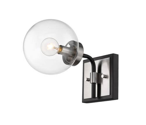 Z-Lite Parsons Collection 1 Light Wall Sconce in Matte Black + Brushed Nickel Finish, 477-1S-MB-BN