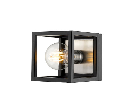 Z-Lite Kube Collection 1 Light Wall Sconce in Matte Black + Brushed Nickel Finish, 480-1S-MB-BN