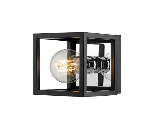 Z-Lite Kube Collection 1 Light Wall Sconce in Matte Black + Chrome Finish, 480-1S-MB-CH
