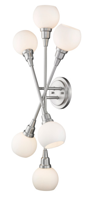 Z-Lite Tian Collection 6 Light Wall Sconce in Brushed Nickel Finish, 616-6S-BN-LED