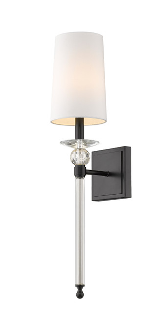 Z-Lite Ava Collection 1 Light Wall Sconce in Matte Black Finish, 804-1S-MB