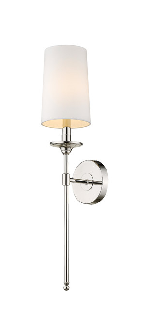 Z-Lite Emily Collection 1 Light Wall Sconce in Polished Nickel Finish, 807-1S-PN