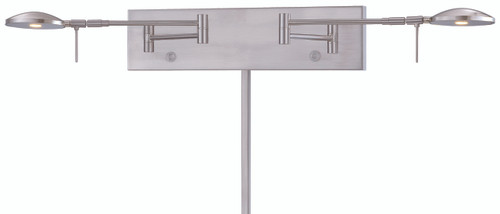 George Kovacs George's Reading Room 2 Light LED Swing Arm Wall Lamp in Brushed Nickel, P4329-084
