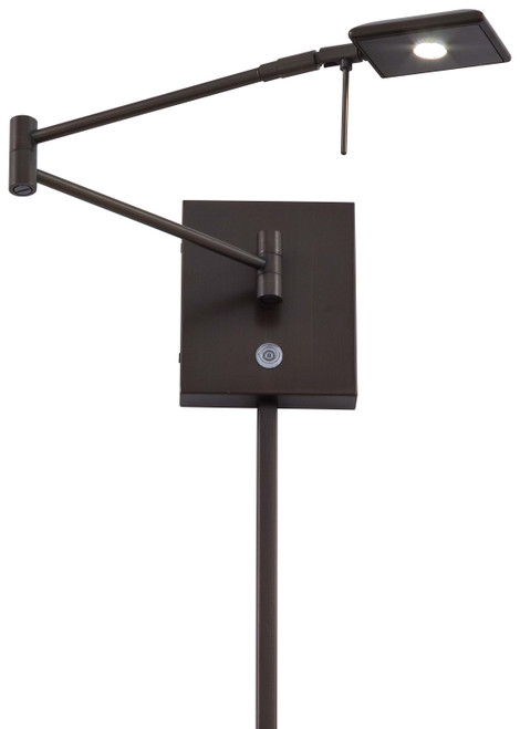 George Kovacs George's Reading Room 1 Light LED Swing Arm Wall Lamp in Copper Bronze Patina, P4318-647