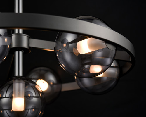 DVI Lighting 7 Light Courcelette Chandelier in Graphite with Smoke Glass