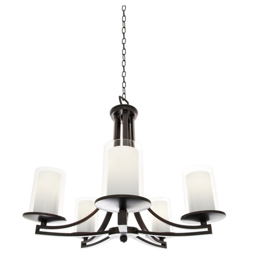 DVI Lighting 5 Light Essex Chandelier in Oil Rubbed Bronze with Half Opal Glass
