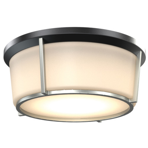 DVI Lighting 1 Light Jarvis AC LED Flush Mount in Black and Satin Nickel with Half Opal Glass