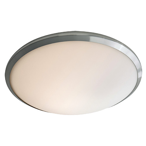 DVI Lighting 1 Light Essex Flush Mount in Buffed Nickel with Half Opal Glass