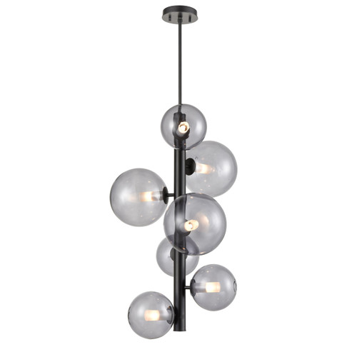 DVI Lighting 7 Light Courcelette Foyer in Graphite with Smoke Glass