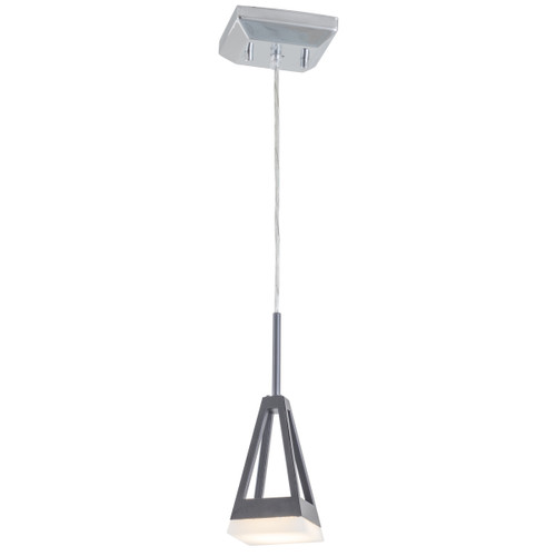 DVI Lighting 1 Light Aries AC LED Mini-Pendant in Graphite and Chrome with Half Opal Glass