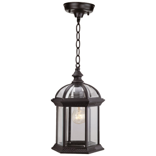 DVI Lighting Hexagon Clear Chain-Hung Hanging in Black with Clear Glass