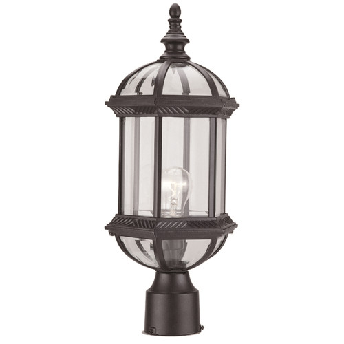 DVI Lighting Hexagon Clear Post Lamp in Black with Clear Glass