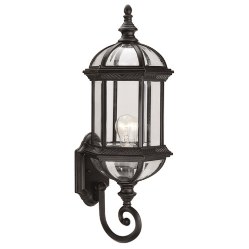 DVI Lighting Hexagon Large Clear Sconce in Black with Clear Glass