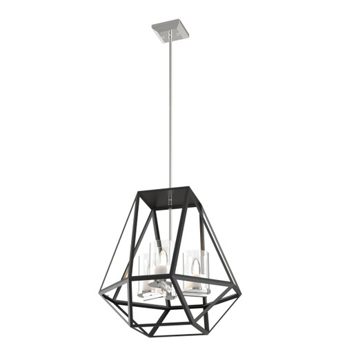DVI Lighting 3 Light Givenchy Pendant in Chrome and Graphite