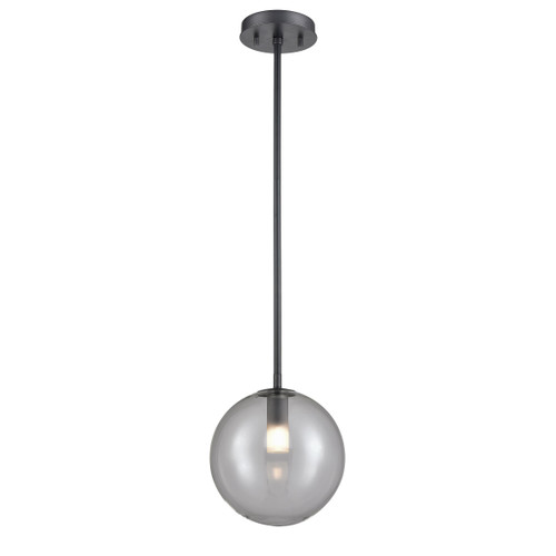 DVI Lighting 1 Light Courcelette Pendant in Graphite with Smoke Glass