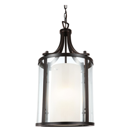 DVI Lighting Essex Pendant in Oil Rubbed Bronze with Half Opal Glass