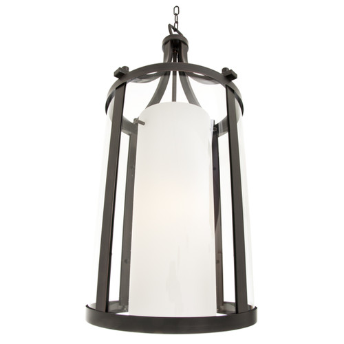 DVI Lighting Essex 2 Light Pendant in Oil Rubbed Bronze with Half Opal Glass