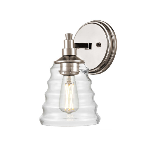 DVI Lighting 1 Light Campbellville Sconce in Buffed Nickel with Beehive Glass