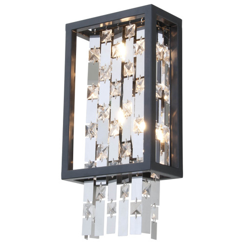 DVI Lighting 2 Light Amethyst Sconce in Graphite with Optic Glass Inserts