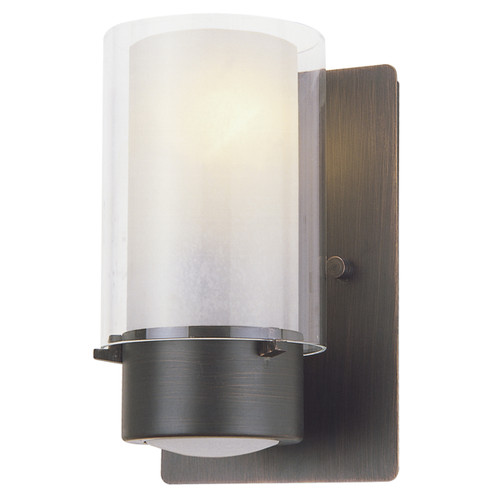 DVI Lighting 1 Light Essex Sconce in Oil Rubbed Bronze with Half Opal Glass