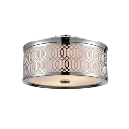 DVI Lighting 2 Light Torino Semi-Flush Mount in Chrome with Sateen White Shade