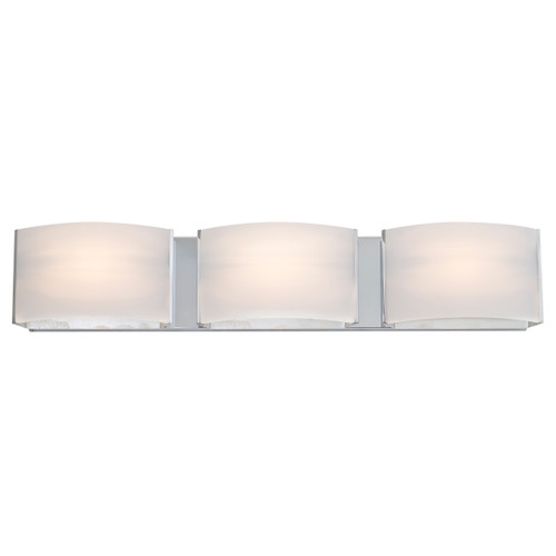 DVI Lighting 3 Light Vanguard Vanity in Chrome with Half Opal Glass