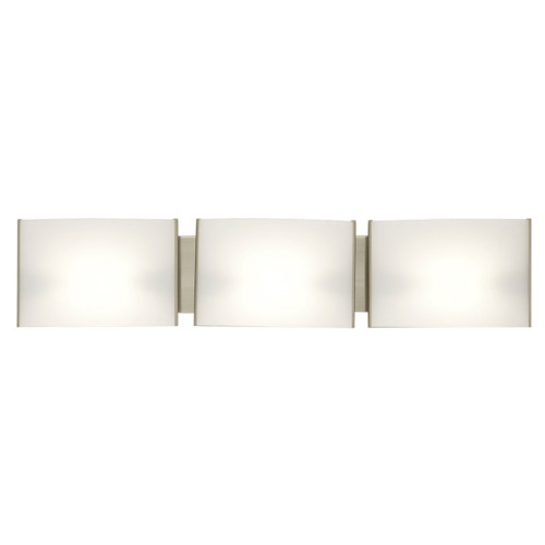 DVI Lighting 3 Light Mega Vanguard Vanity in Satin Nickel with Half Opal Glass
