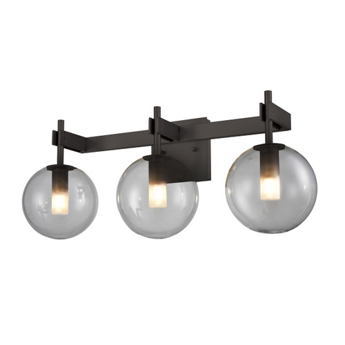 DVI Lighting 3 Light Courcelette Vanity in Graphite with Smoke Glass