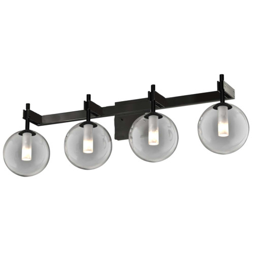 DVI Lighting 4 Light Courcelette Vanity in Graphite with Smoke Glass