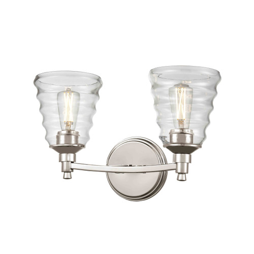 DVI Lighting 2 Light Campbellville Vanity in Buffed Nickel with Beehive Glass