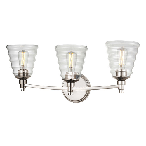 DVI Lighting 3 Light Campbellville Vanity in Buffed Nickel with Beehive Glass