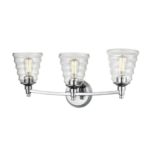 DVI Lighting 3 Light Campbellville Vanity in Chrome with Beehive Glass