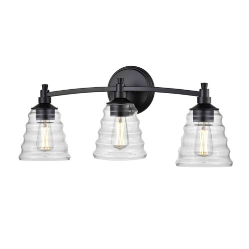 DVI Lighting 3 Light Campbellville Vanity in Ebony with Beehive Glass