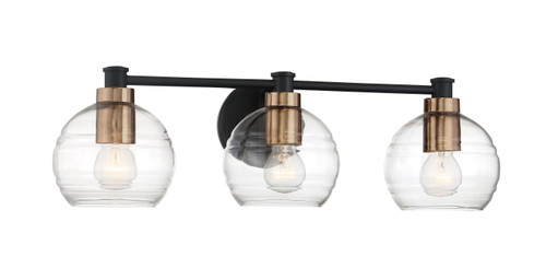 Minka Lavery Keyport 3 Light Bath in Sand Coal With Natural Brushed Brass Finish