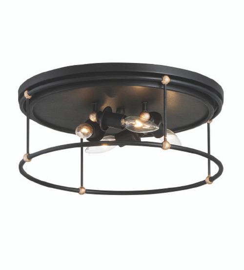 Minka Lavery 4 Light Flush Mount in Sand Coal with Skyline Gold Leaf Finish