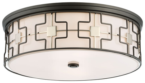 Minka Lavery 5 Light Flush Mount in Dark Gray With Polished Nickel Finish