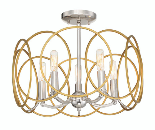 Minka Lavery Chassell 5 Light Semi Flush/Pendantconvertible in PaInterior Honey Gold With Polished Nickel Finish