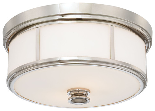 Minka Lavery Harbour Point 2 Light Flush Mount in Polished Nickel Finish