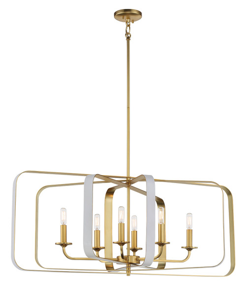 Minka Lavery 6 Light Pendant in Matte White With Honey Gold Finish
