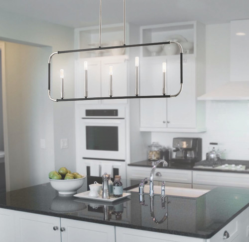 Minka Lavery Liege 5 Light Island in Coal With Polished Nickel Highlights Finish