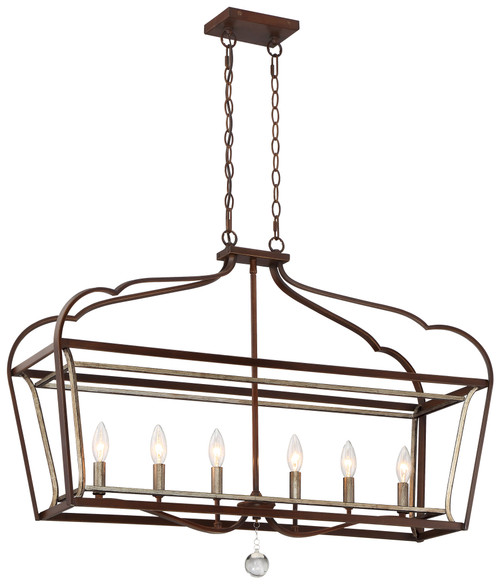 Minka Lavery Astrapia 6 Light Island in Dark Rubbed Sienna With Aged Silver Finish