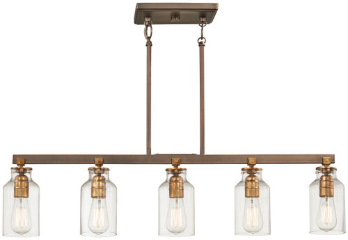 Minka Lavery Morrow 5 Light Island Light in Harvard Court Bronze With Gold Highlights Finish
