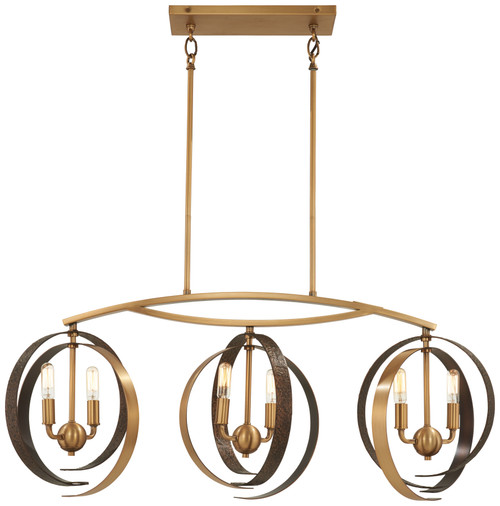 Minka Lavery Criterium 6 Light Island in Aged Brass With Textured Iron Finish