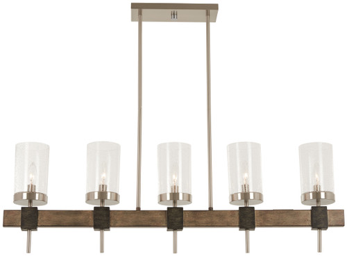Minka Lavery Bridlewood 5 Light Island in Stone Grey With Brushed Nickel Finish