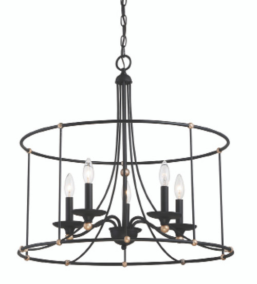 Minka Lavery 5 Light Chandelier in Sand Coal with Skyline Gold Leaf Finish